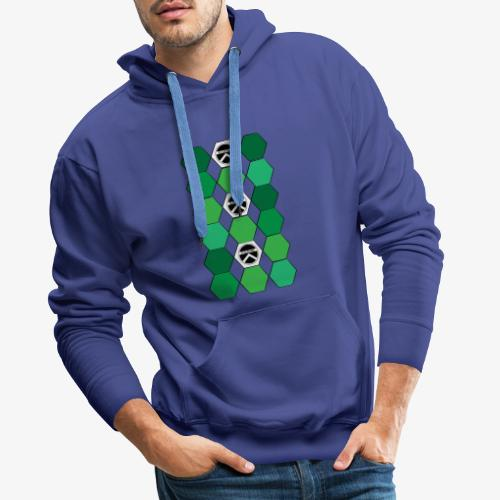 |K·CLOTHES| HEXAGON ESSENCE GREENS & WHITE - Sudadera con capucha premium para hombre
