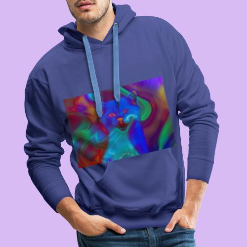 Gattino con effetti neon surreali - Felpa con cappuccio premium da uomo