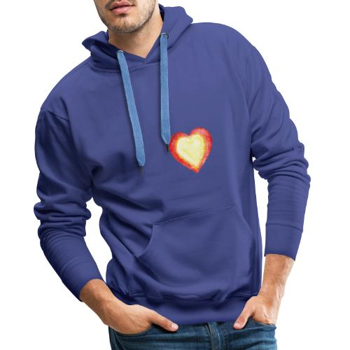 Burning Fire Heart - Men's Premium Hoodie