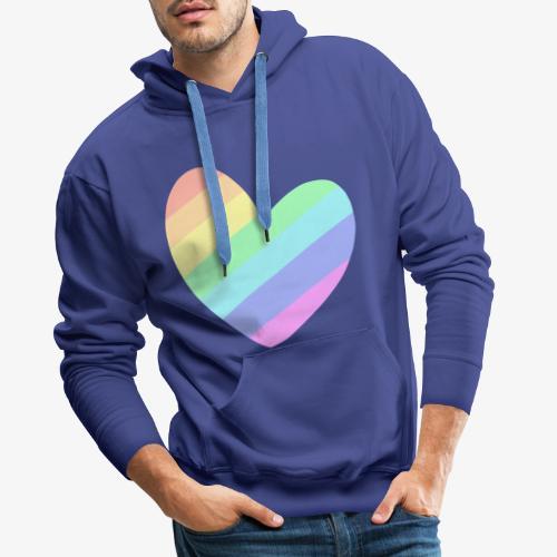 Pastal Rainbow Heart - Mannen Premium hoodie