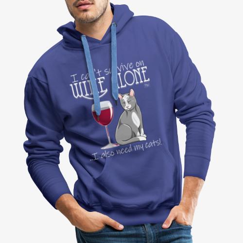 Wine Alone Cats - Miesten premium-huppari