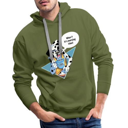 Dalmatian with his morning coffee - Men's Premium Hoodie