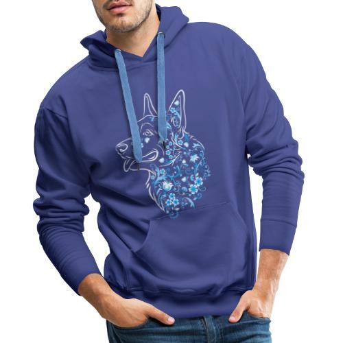 Flower Corgi Blue - Miesten premium-huppari