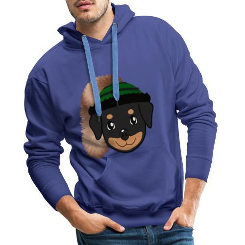 Baby-Rottweiler mit grüner Wadelkappe - Männer Premium Hoodie