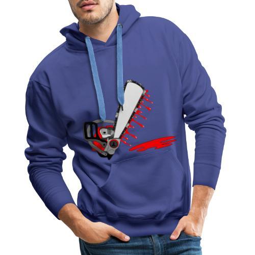 T shirt humeur tronçonneuse en sang votre texte FC - Sweat-shirt à capuche Premium pour hommes