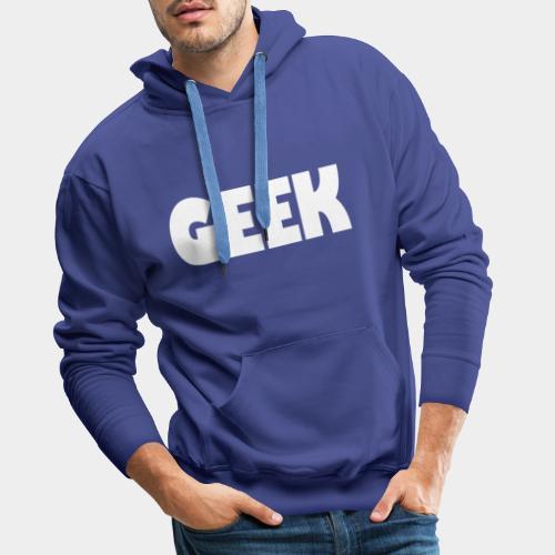 GEEK Text Logo White - Men's Premium Hoodie