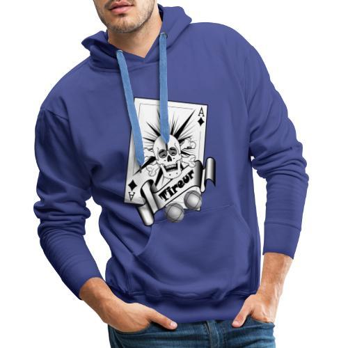 t shirt petanque tireur crane rieur carreau boules - Sweat-shirt à capuche Premium pour hommes