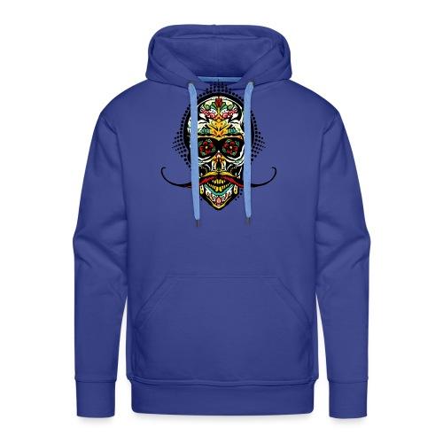 tete de mort mexicaine crane hipster skull moustac - Sweat-shirt à capuche Premium pour hommes