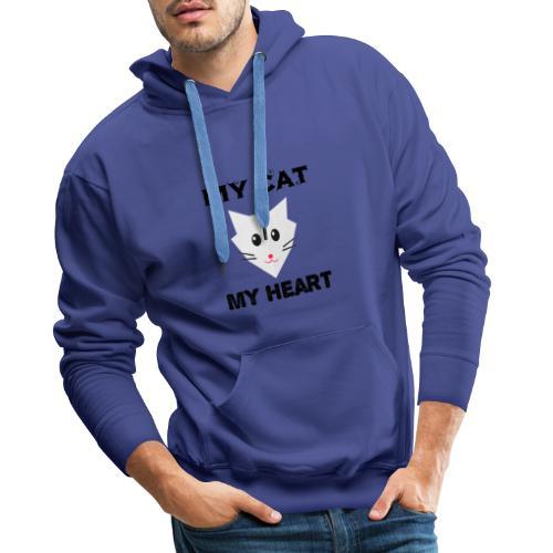 my cat my heart - Sweat-shirt à capuche Premium pour hommes