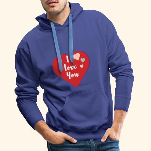 I Love You - Sweat-shirt à capuche Premium pour hommes