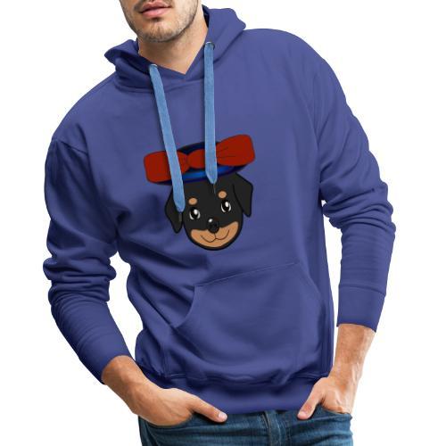 Baby-Rottweiler mit roter Hornkappe - Männer Premium Hoodie