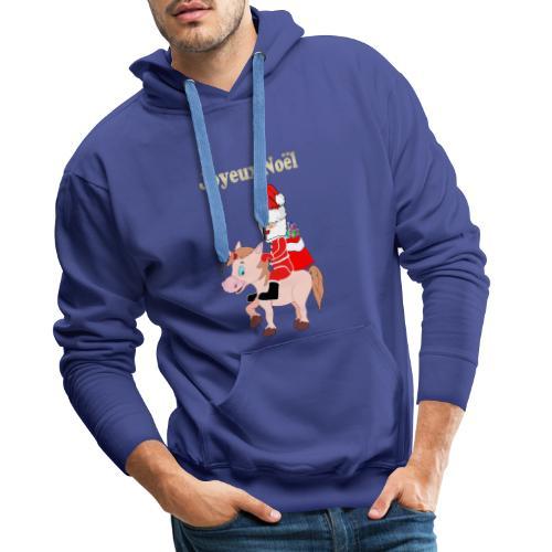 Le père Noël et la licorne - Sweat-shirt à capuche Premium pour hommes