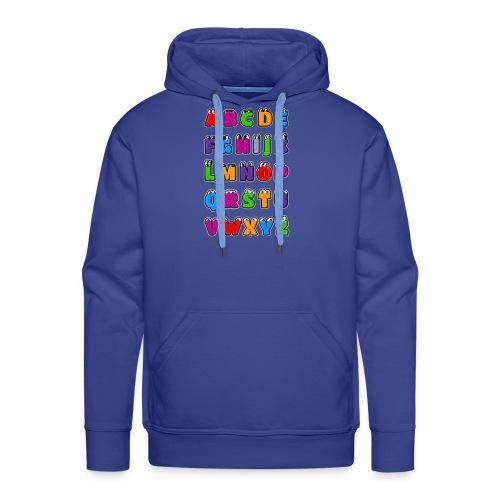 Letras del alfabeto Kawaii ABC para niños. Dibujos - Sudadera con capucha premium para hombre