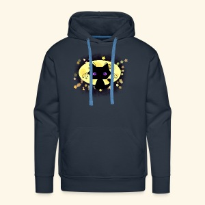 The Kitten and the Moon (black) - Männer Premium Hoodie