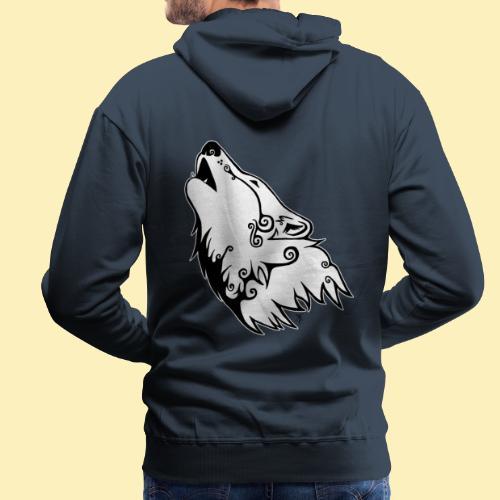 Le Loup de Neved (version contour blanc) - Sweat-shirt à capuche Premium pour hommes