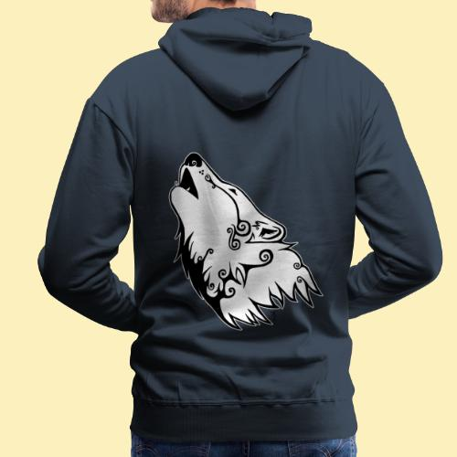 Le Loup de Neved (version contour blanc) - Sweat-shirt à capuche Premium pour hommes