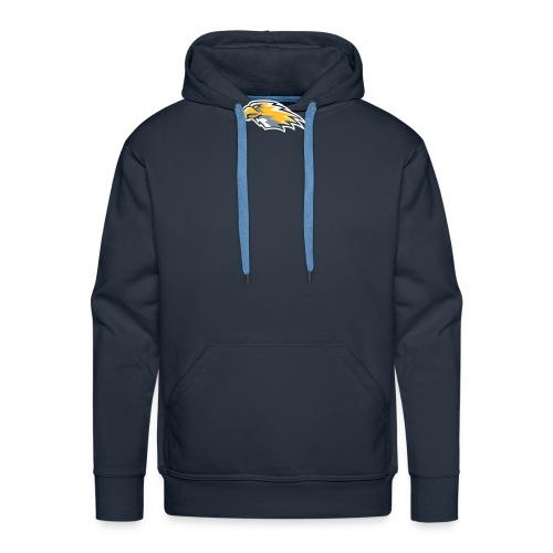 hawks head left on blue - Men's Premium Hoodie