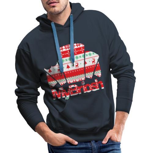MyBriosh Christmas PTTRN - Felpa con cappuccio premium da uomo