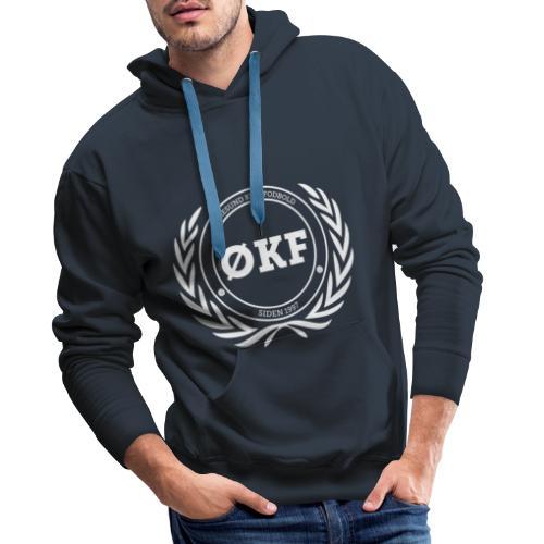 ØKF hvid logo - Herre Premium hættetrøje