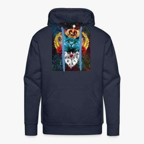 01 Blue Cat King Katze Queen Rosen - Männer Premium Hoodie