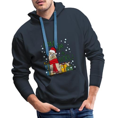 Lama, Magie de Noël, Happy Christmas, Pull moche - Sweat-shirt à capuche Premium pour hommes