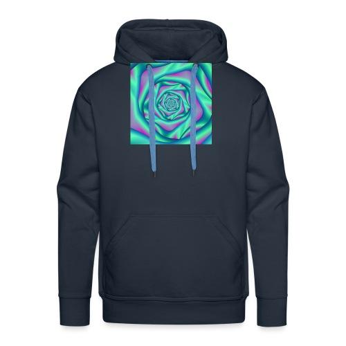 Silk Spiral Rose in Blue and Pink - Men's Premium Hoodie