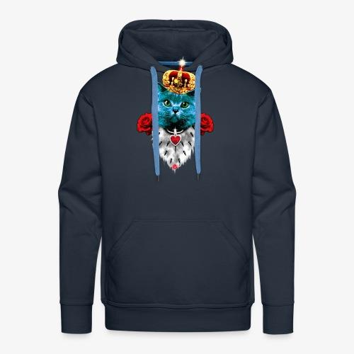 18 Blue Cat King Red Roses Blaue Katze König Rosen - Männer Premium Hoodie
