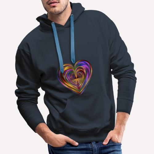 Colorful Love Heart Print T-shirts And Apparel - Men's Premium Hoodie