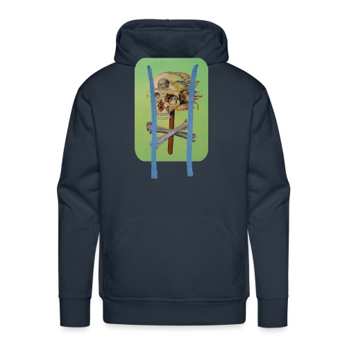 oil painting of skull and bones - Mannen Premium hoodie