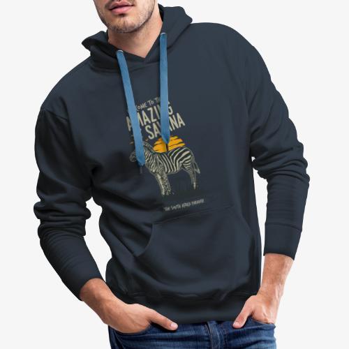 Zèbre - Sweat-shirt à capuche Premium pour hommes