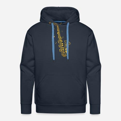 Goldenes Saxophon aus Musiknoten - Männer Premium Hoodie