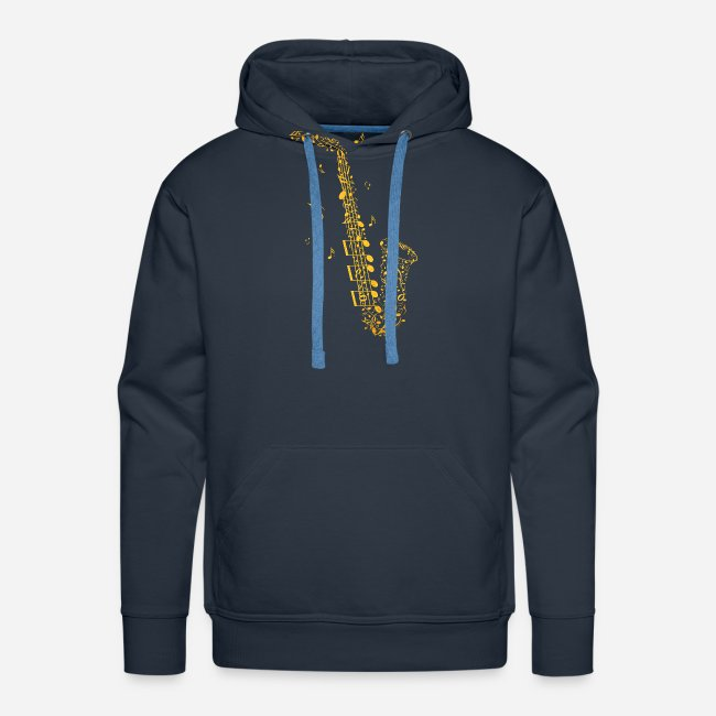 Goldenes Saxophon aus Musiknoten