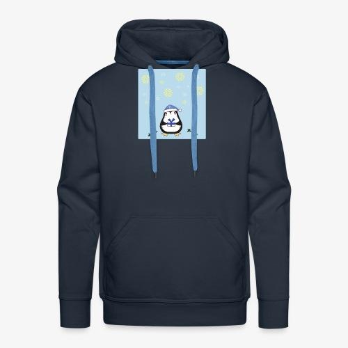 pingouin de Noel sur fond bleu - Sweat-shirt à capuche Premium pour hommes