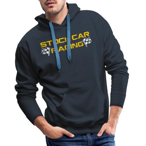Stock Car Racing yellow logo distressed with flags - Men's Premium Hoodie
