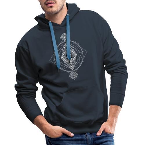 Logo ADN Géométrie Sacrée / Blanc - Sweat-shirt à capuche Premium pour hommes