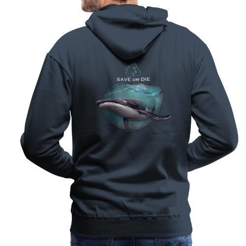 save or die Whale - Sweat-shirt à capuche Premium pour hommes