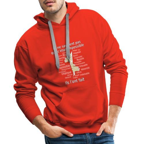 Impossible et fait Hommes mains Fond Sombre - Sweat-shirt à capuche Premium pour hommes