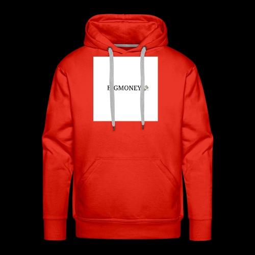 BigMoney hvit stor logo - Premium hettegenser for menn