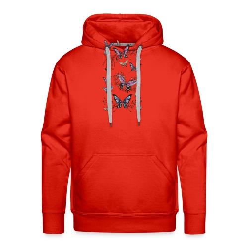 Tattoo de mariposas lilas y rosas - Sudadera con capucha premium para hombre