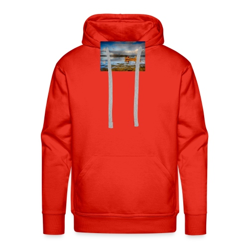 yellow boat on the sea over blue sky - Men's Premium Hoodie
