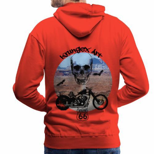 Skull Route - Felpa con cappuccio premium da uomo