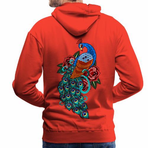 Farverig påfugl - Herre Premium hættetrøje