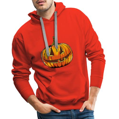 Halloween pumpkin head hand made comics art - Men's Premium Hoodie