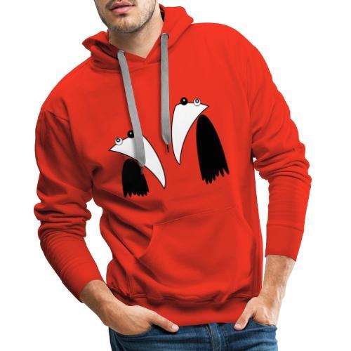 Raving Ravens - black and white 1 - Sweat-shirt à capuche Premium pour hommes
