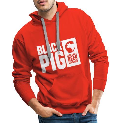 BlackPig Horizontal Blanc - Sweat-shirt à capuche Premium pour hommes