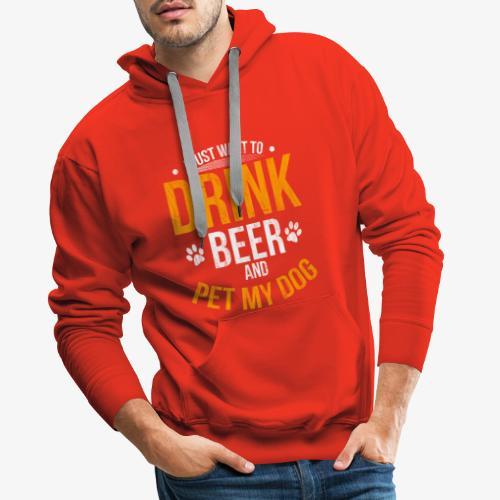 Drink Beer and Pet My Dog Beer Lover Gift Tshirt - Men's Premium Hoodie