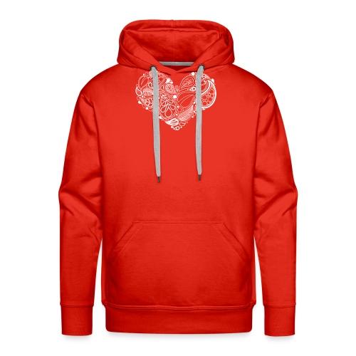 White Leaf Heart Mandala - Men's Premium Hoodie