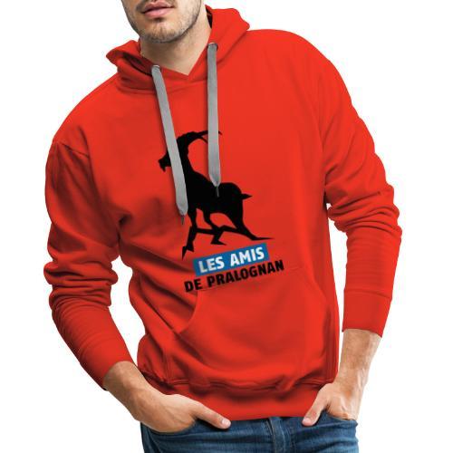Logo Les Amis de Pralo grand noir bouquetin - Sweat-shirt à capuche Premium pour hommes