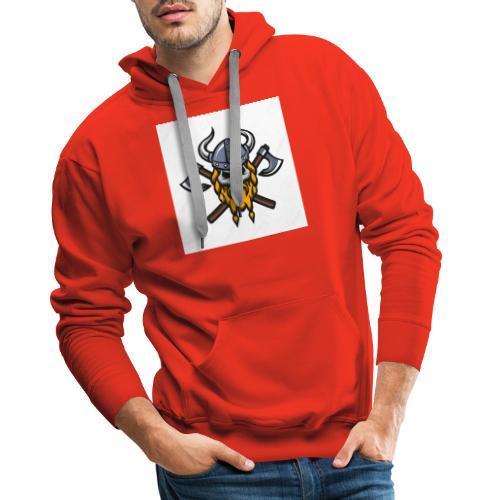 Viking Warrior Skull and Axes badge logo - Men's Premium Hoodie