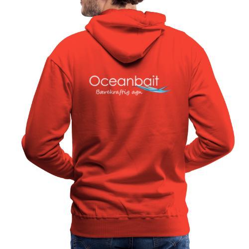 Oceanbait, hvit tekst - Premium hettegenser for menn